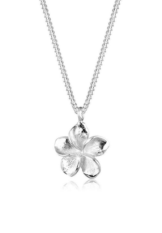 Elli Halskette »Frangipani Blüte 925 Sterling Silber« in Silber