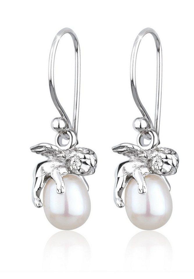 Perlu Ohrringe »Engel Schutzengel Süßwasserzuchtperle Silber« in Weiß