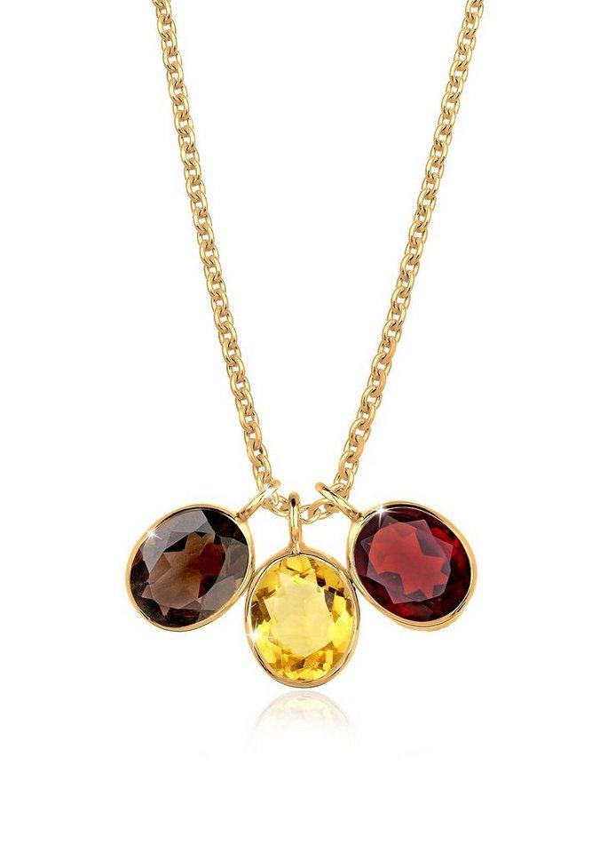 Goldhimmel Halskette »Rauchquarz Citrin Granat 925 Silber vergoldet« in Bunt
