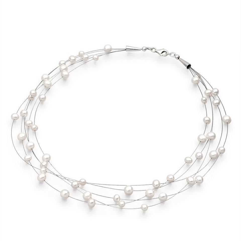 Elli Halskette »Süßwasserzuchtperlen 925 Sterling Silber« in Weiß