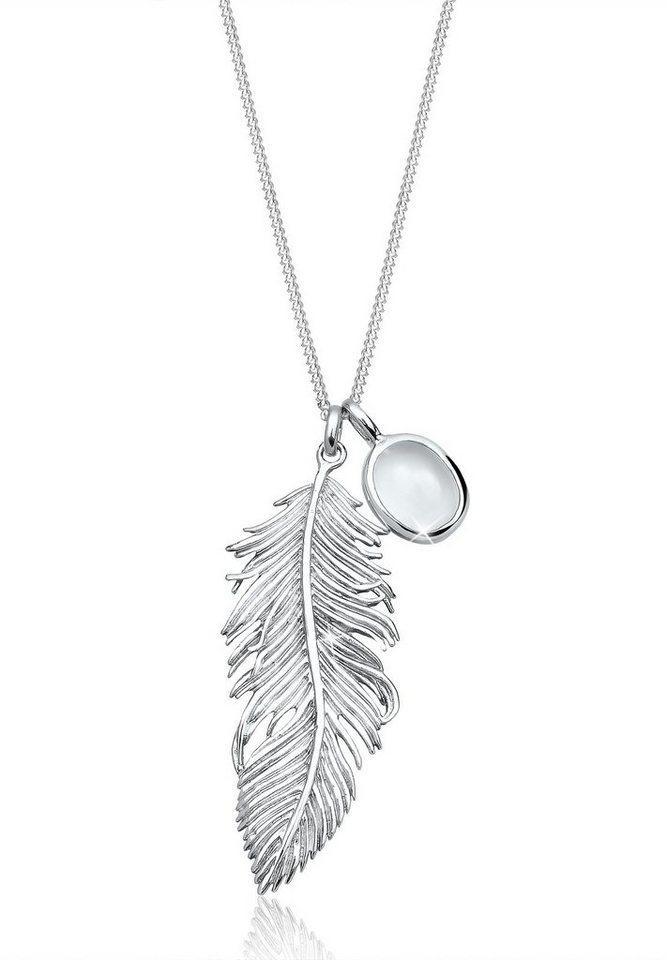 Elli Halskette »Feder Mondstein 925 Sterling Silber« in Weiß