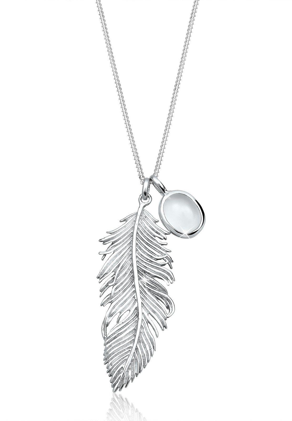 Elli Halskette »Feder Boho Mondstein 925 Sterling Silber«