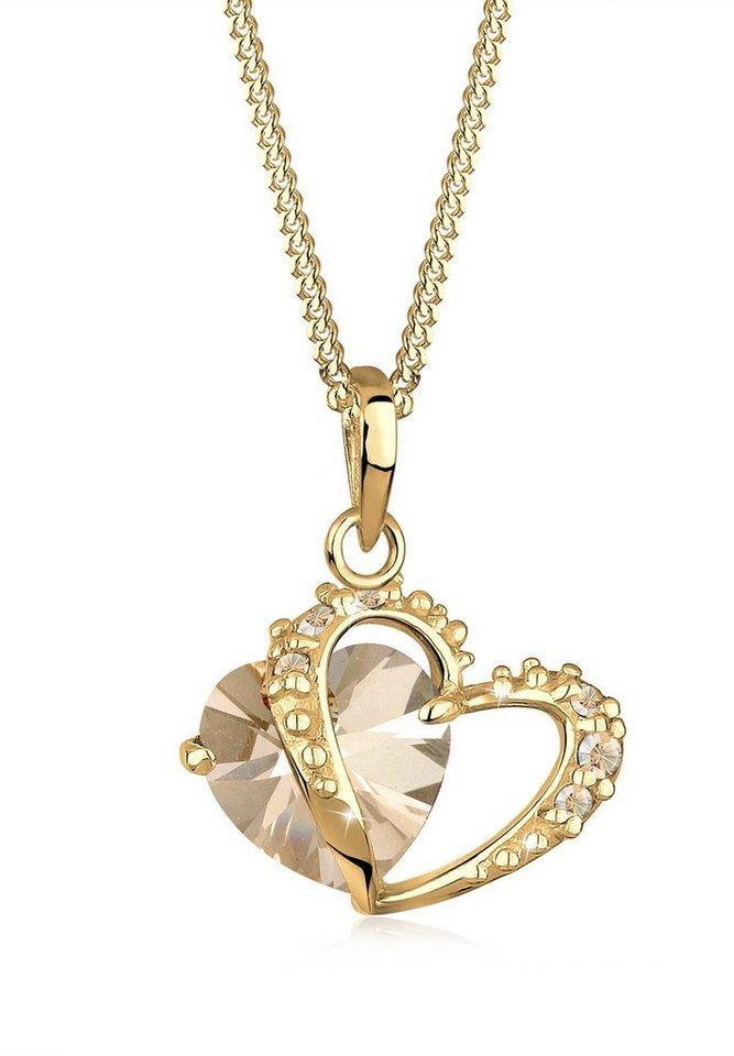 Goldhimmel Halskette »Opulentes Herz Swarovski® Kristalle 925 Silber« in Gold