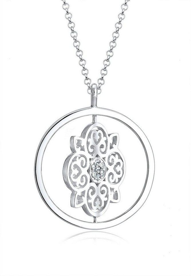 Elli Halskette »Drehscheibe Swarovski® Kristall 925 Silber« in Silber