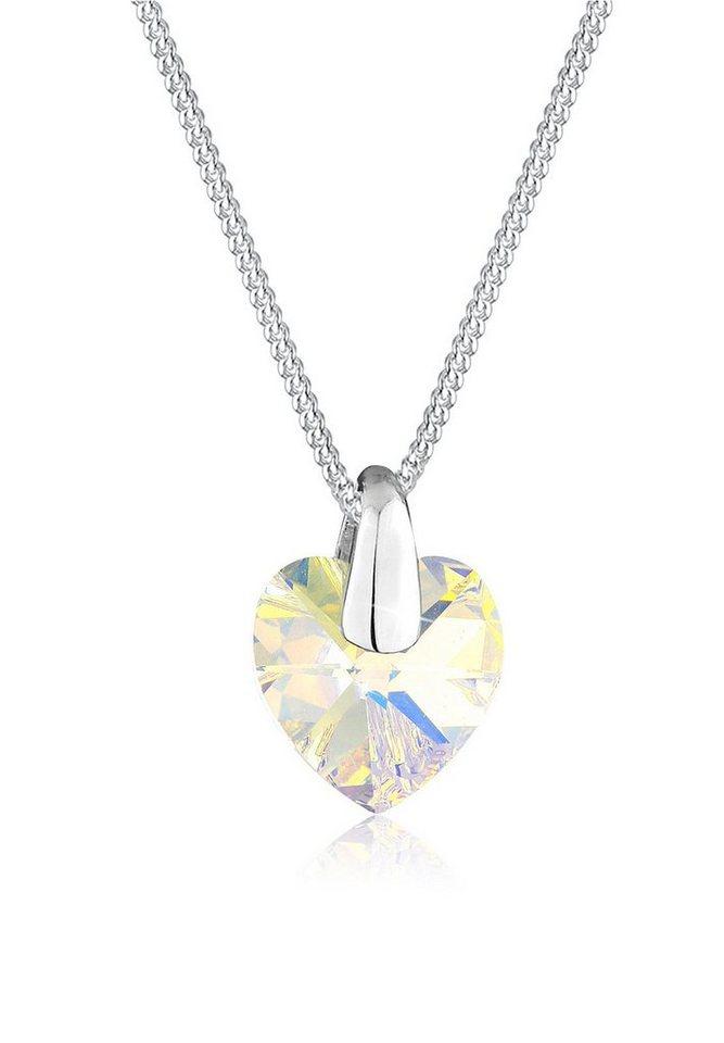 Elli Halskette »Herz Fein Swarovski® Kristalle 925 Sterling Silber« in Weiß