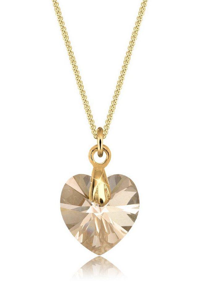Goldhimmel Halskette »Herz Swarovski® Kristall 925 Sterling Silber« in Gold