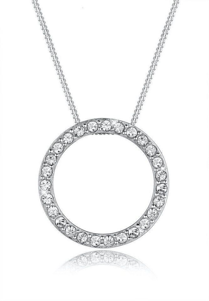 Elli Halskette »Karma Kreis Swarovski Kristall 925 Sterling Silber« in Silber