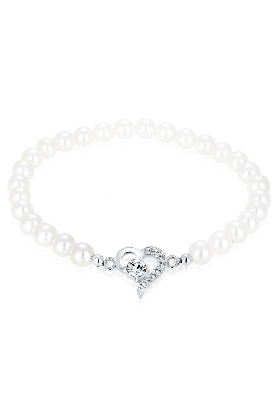 Elli Armband »Herz Swarovski Kristalle Perlen Sterling Silber«