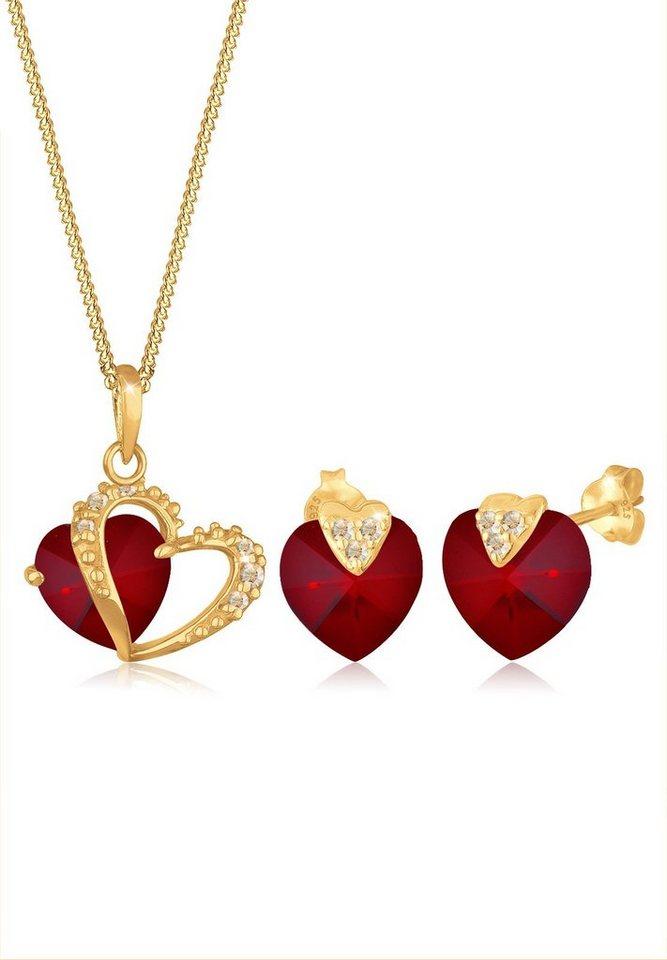 Goldhimmel Set: Schmuckset »Herz Swarovski® Kristalle 925 Sterling Silber« 2 tlg. in Dunkelrot
