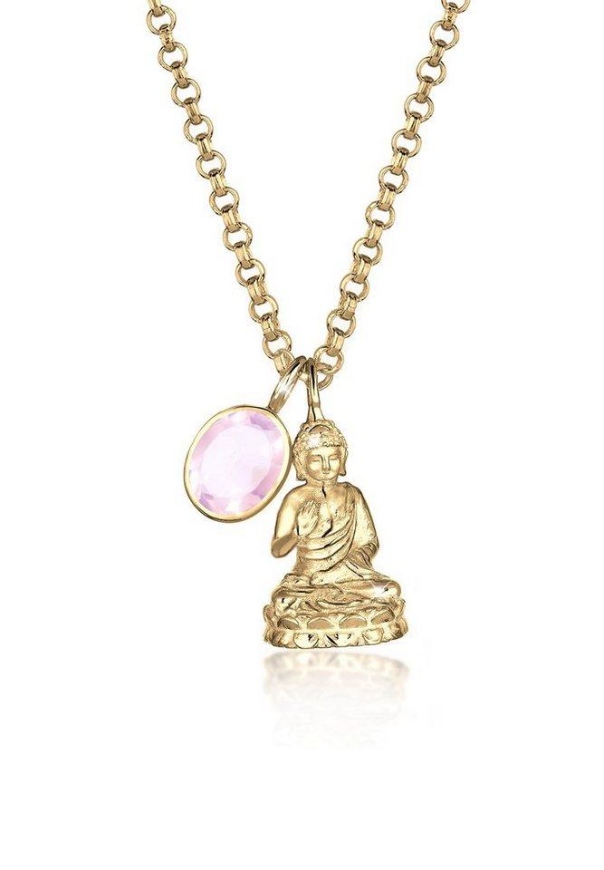 Elli Halskette »925 Silber Buddha Rosenquarz vergoldet« in Rosa