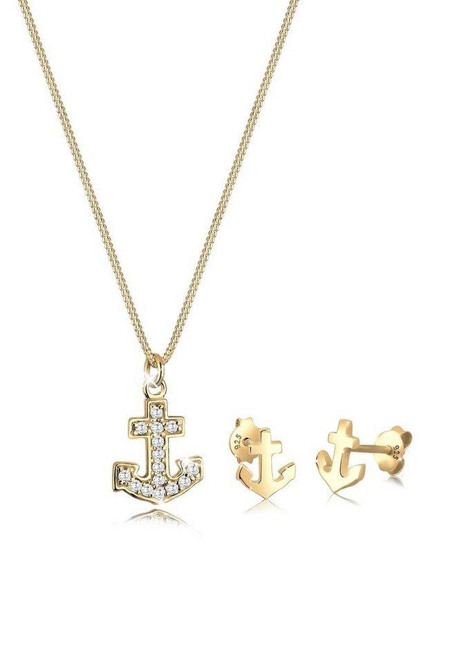 Goldhimmel Set: Schmuckset »925 Sterling Silber vergoldet Zirkonia Anker« 2 tlg. in Weiß