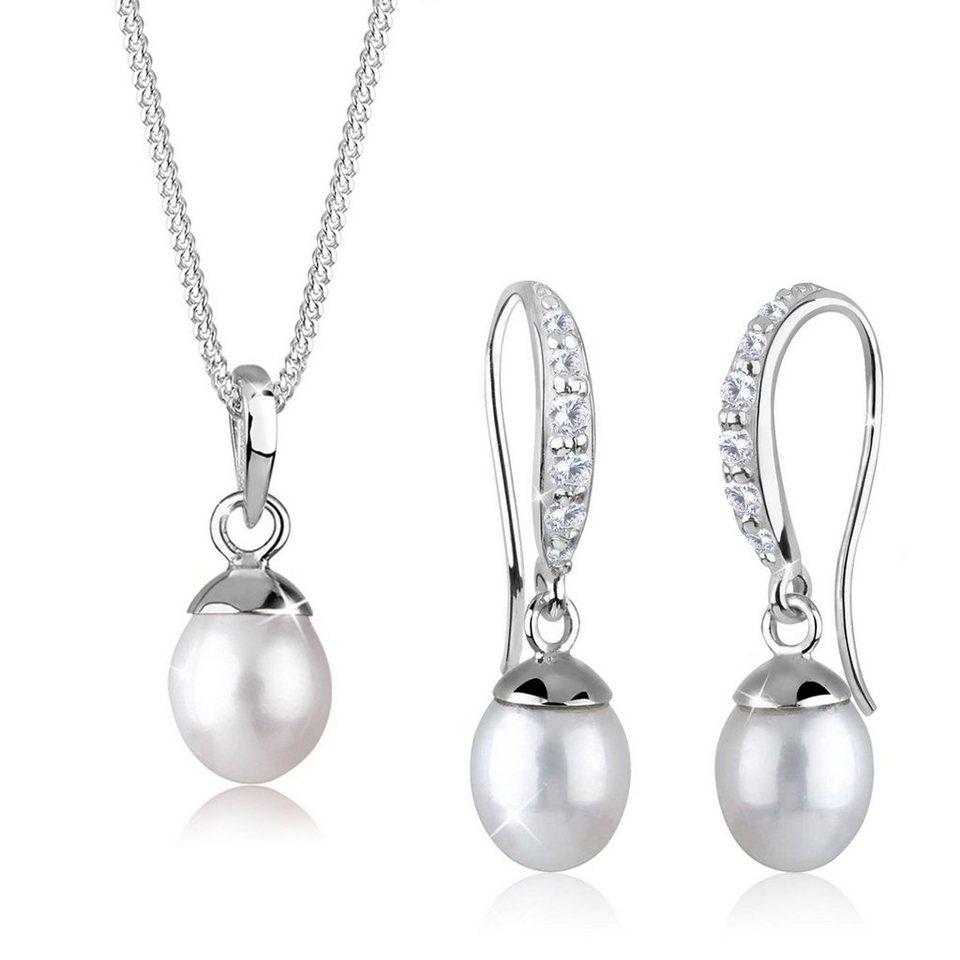 Elli Set: Schmuckset »Perle Zirkonia 925 Sterling Silber« 2 tlg. in Weiß