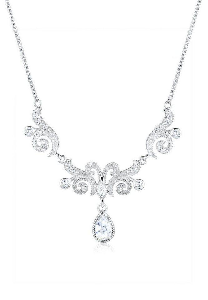 Elli Halskette »Collier Statementkette Zirkonia 925 Sterling Silbe« in Weiß