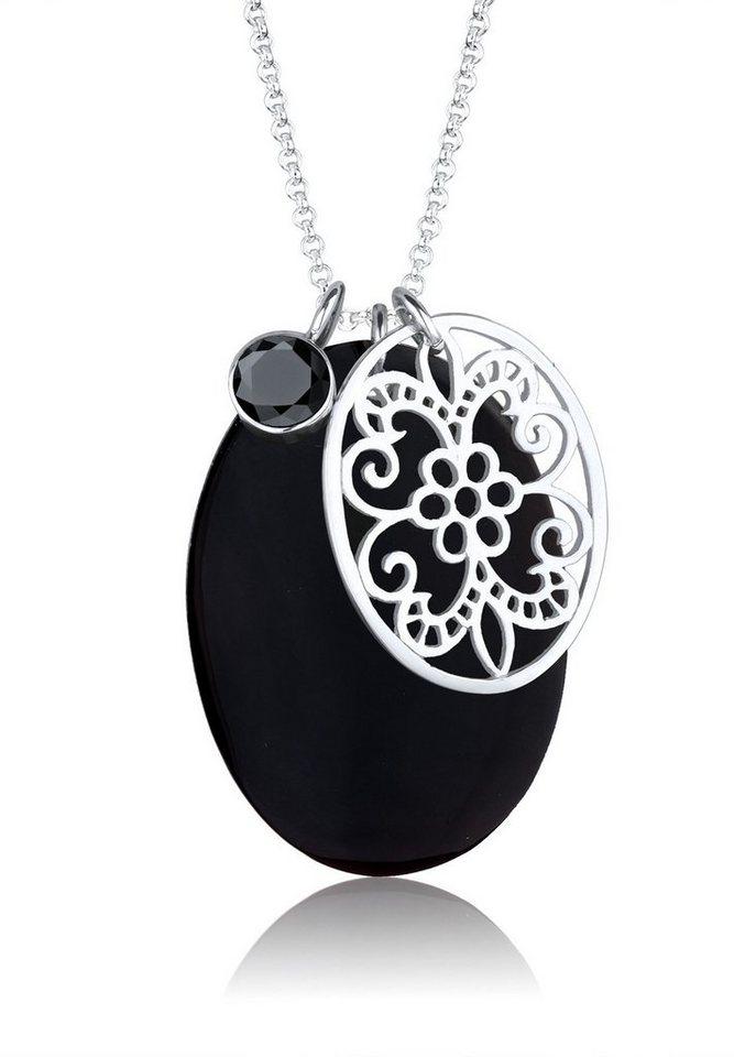 Elli Halskette »Perlmutt Ornament Zirkonia 925 Sterling Silber« in Schwarz