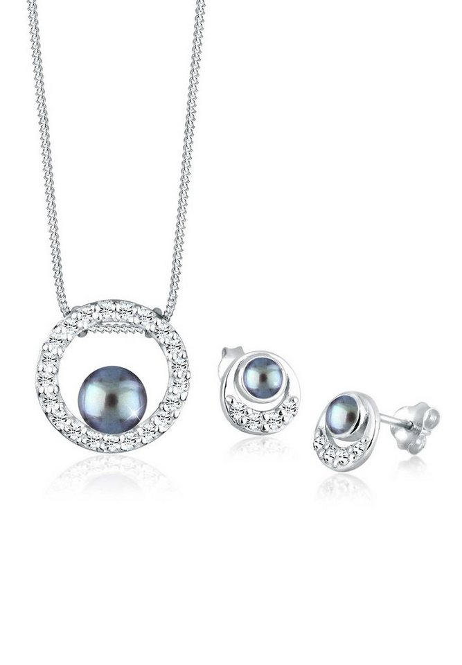 Perlu Set: Schmuckset »Perle Swarovski® Kristalle 925 Silber« 2 tlg. in Grau