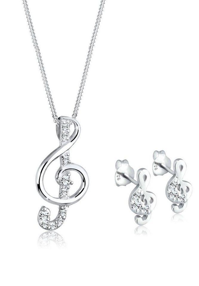 Elli Set: Schmuckset »925 Sterling Silber Musik Swarovski Kristalle« 2 tlg. in Weiß