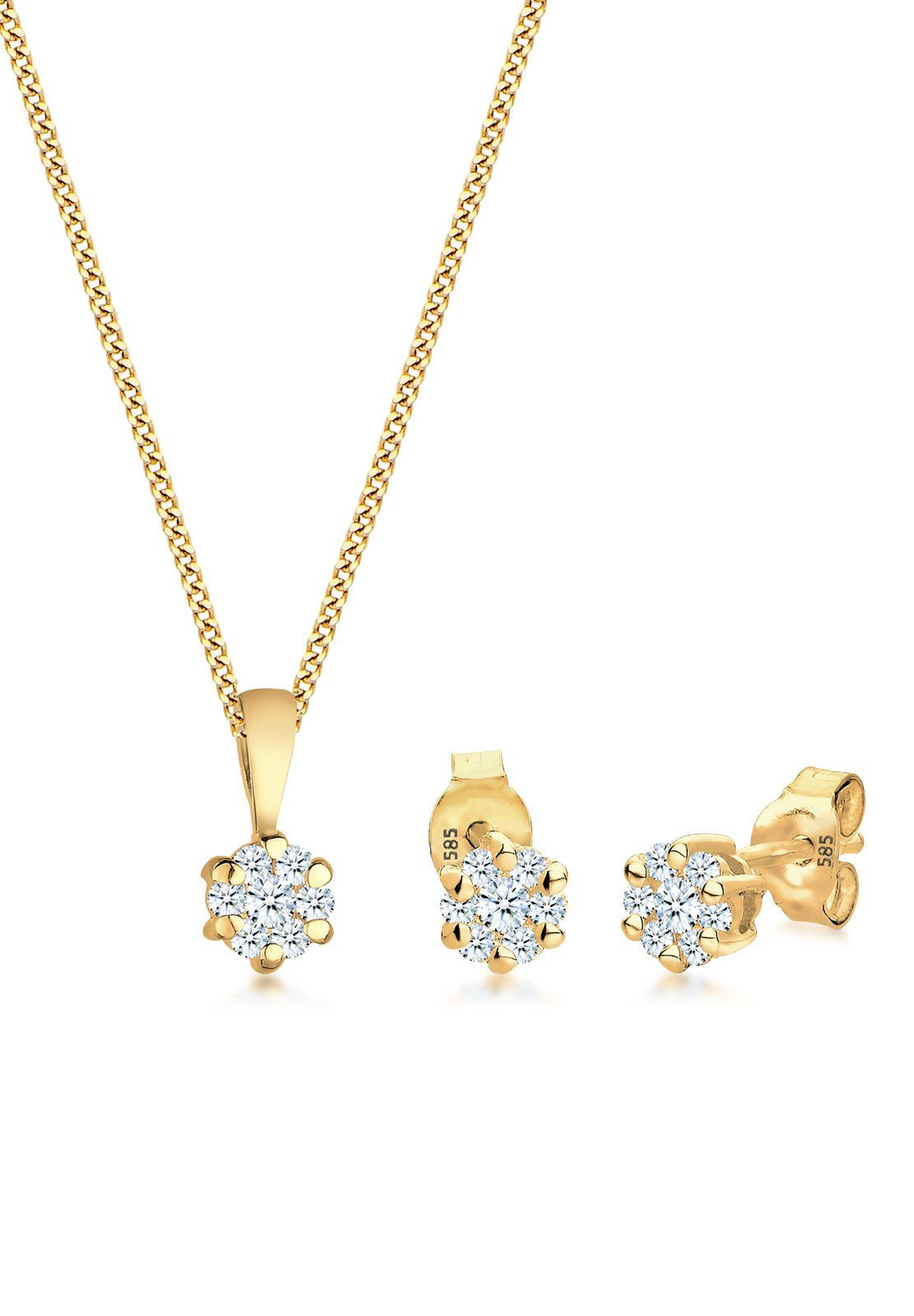 Diamore Set: Schmuckset »585 Gelbgold Diamanten« 2 tlg.