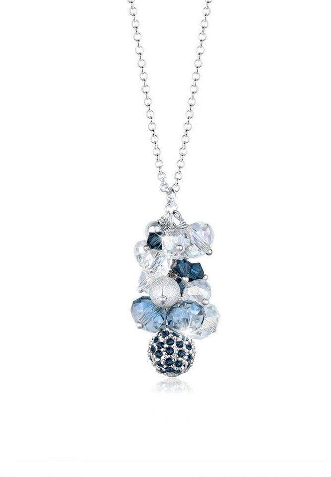 Elli Halskette »Swarovski Kristalle Perlen 925 Sterling Silber« in Blau