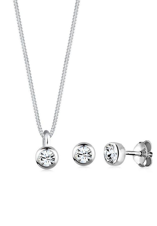 Elli Set: Schmuckset »Basic Swarovski Kristalle 925 Sterling Silber« 2 tlg. in Weiß