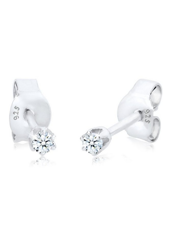 Diamore Ohrringe »Basic Ohrstecker Diamant 0.06 ct. 925 Silber« in Weiß