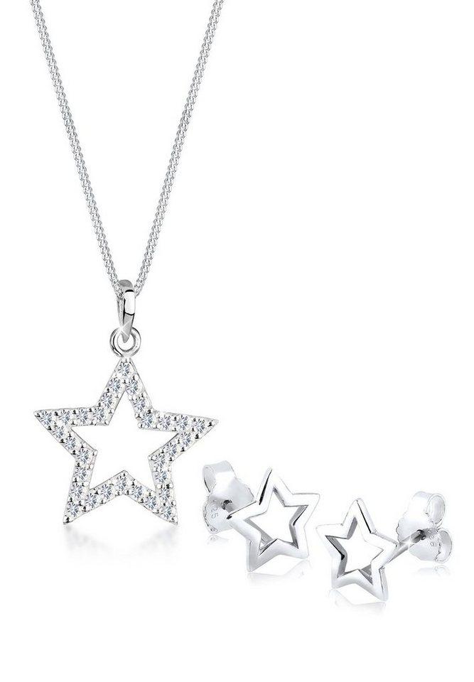 Elli Set: Schmuckset »Sterne Swarovski Kristalle 925 Sterling Silber« 2 tlg. in Weiß