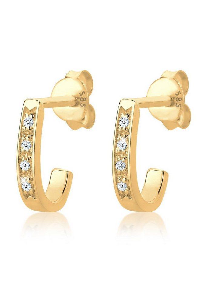 Diamore Ohrringe »585 Gelbgold Diamant Creole« in Weiß