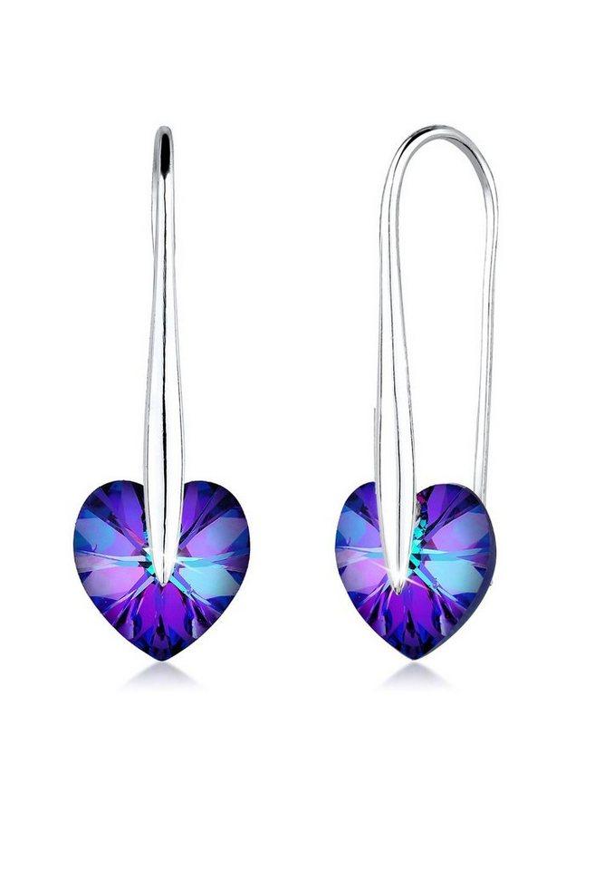 Elli Ohrringe »Herz Swarovski® Kristalle Liebe Elegant Silber« in Blau