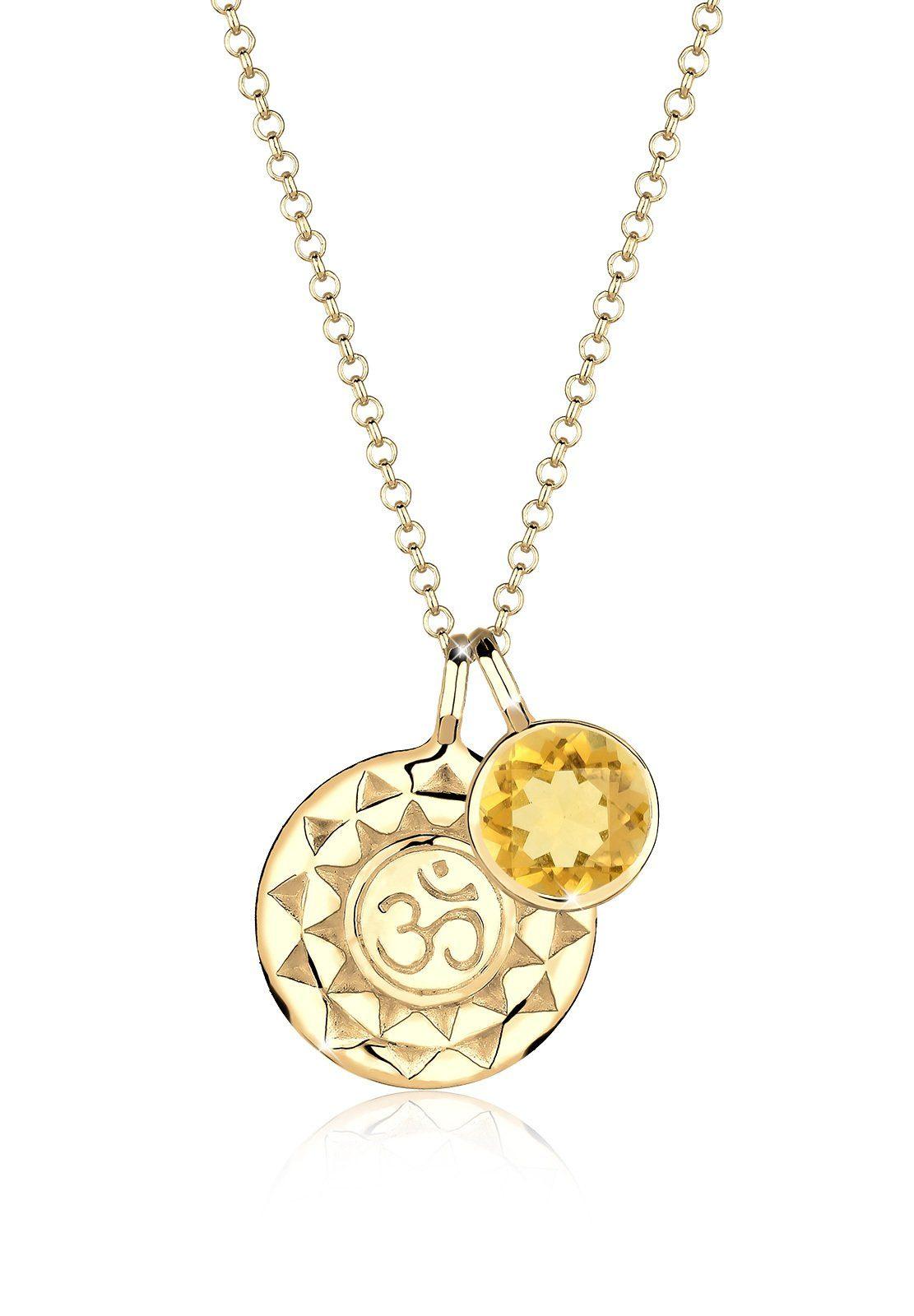 Elli Halskette »Talisman Om Citrin 925 Sterling Silber vergoldet«