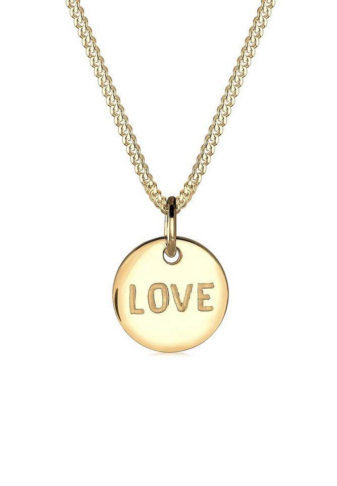 Elli Halskette »Love-Schriftzug Liebe 585 Gelbgold« in Gold