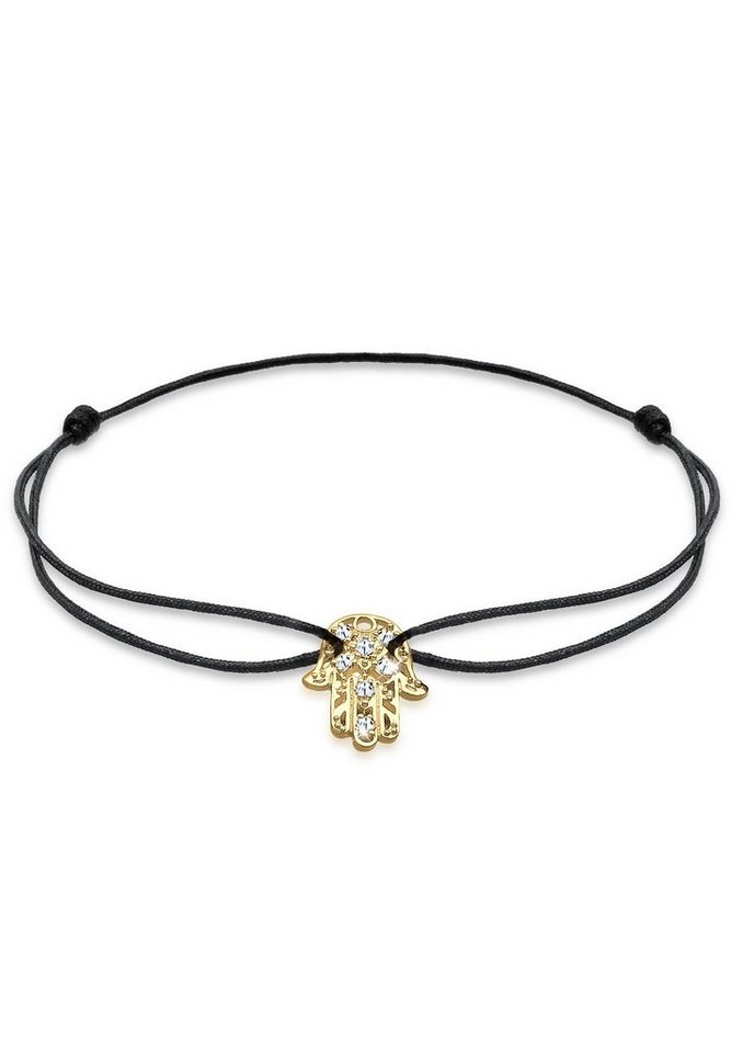 Goldhimmel Armband »Hamsa Hand Swarovski Kristalle 925 Sterling Silber« in Schwarz
