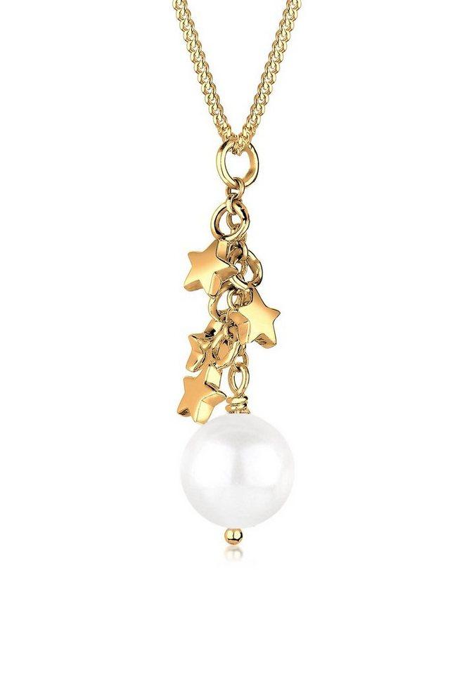 Goldhimmel Halskette »Perlenkette Sterne 925 Sterling Silber vergoldet« in Weiß