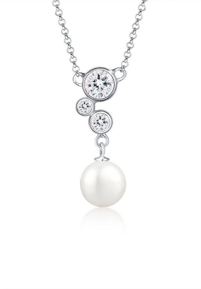 Elli Halskette »Muschelkernperle Swarovski® Kristalle 925 Silber« in Weiß