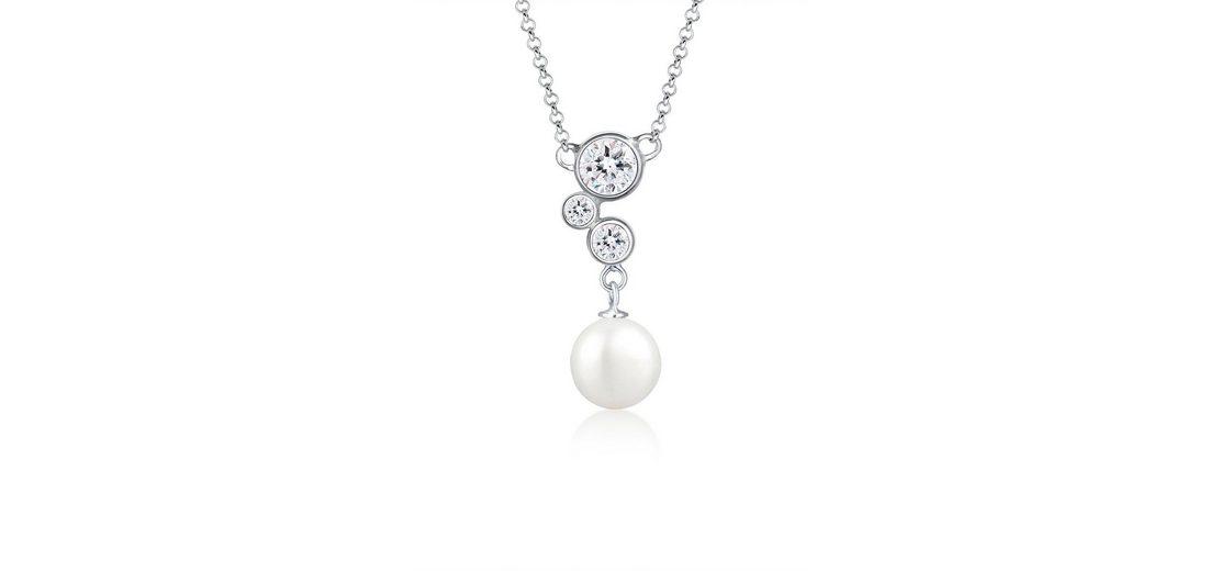 Elli Halskette »Muschelkernperle Swarovski® Kristalle 925 Silber«