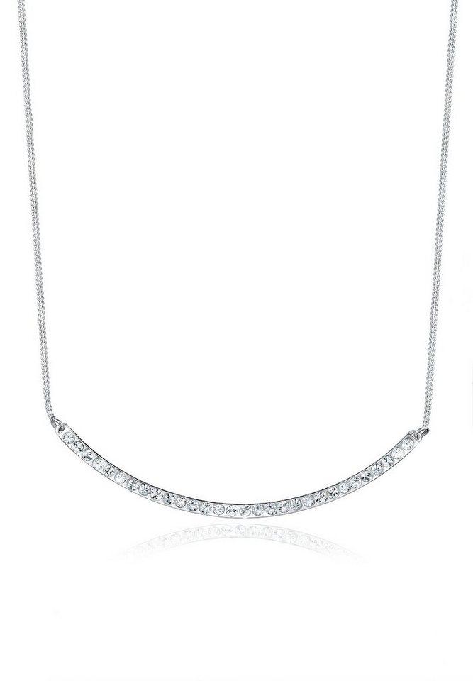 Elli Halskette »Bogen Swarovski Kristalle 925 Sterling Silber« in Weiß