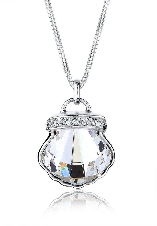 Elli Halskette »925 Sterling Silber Muschel Swarovski Kristalle« in Weiß