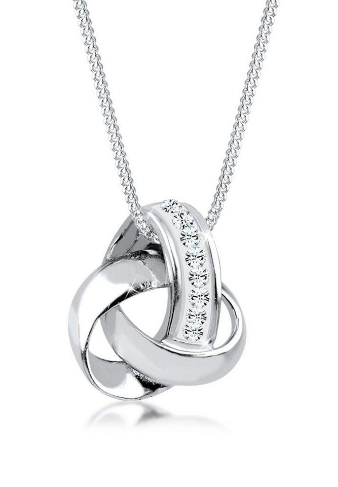 Elli Halskette »Knoten Swarovski Kristalle 925 Sterling Silber« in Silber