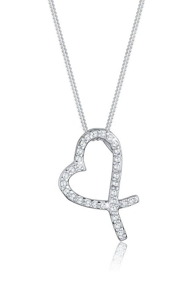 Elli Halskette »Herz Kreuz Zirkonia 925 Sterling Silber« in Weiß