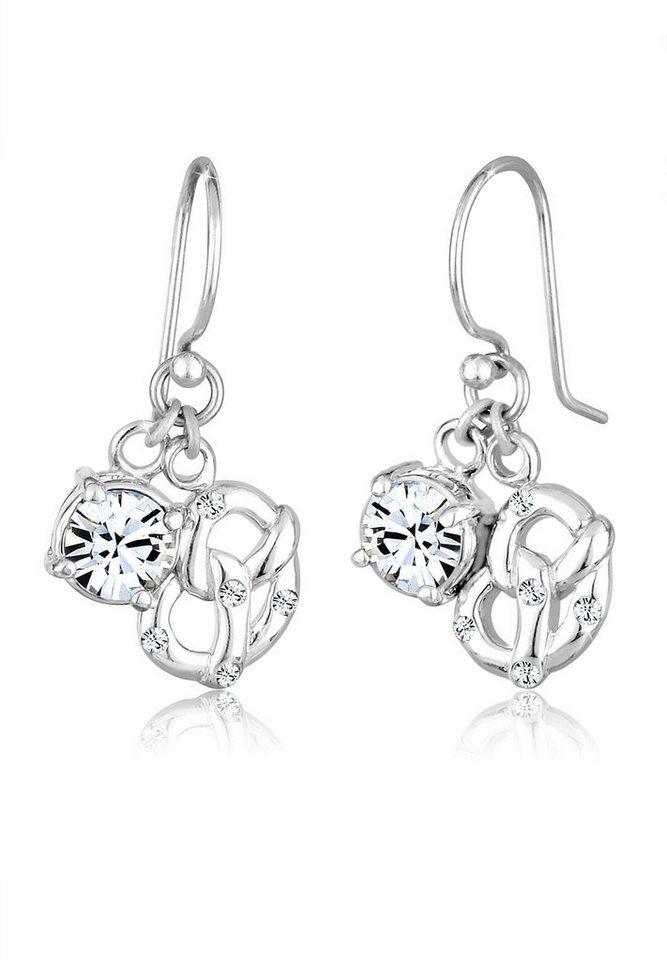 Elli Ohrringe »Brezel Hänger Swarovski® Kristalle 925 Silber« in Weiß