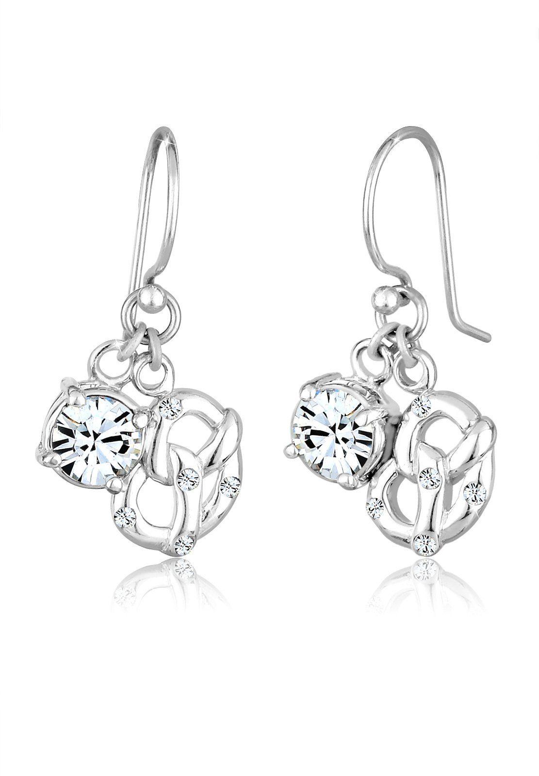Elli Ohrringe »Brezel Hänger Swarovski® Kristalle 925 Silber«