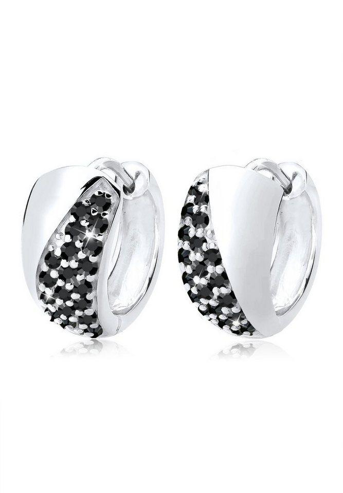 Elli Ohrringe »Creolen Elegant Swarovski® Kristalle 925 Silber« in Schwarz