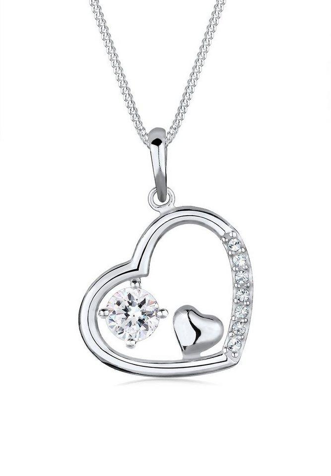 Elli Halskette »Herz Zart Swarovski® Kristalle 925 Sterling Silber« in Weiß