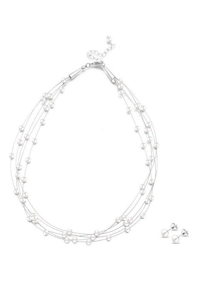 Perlu Set: Schmuckset »925 Sterling Silber Süßwasserzuchtperle« 2 tlg. in Weiß