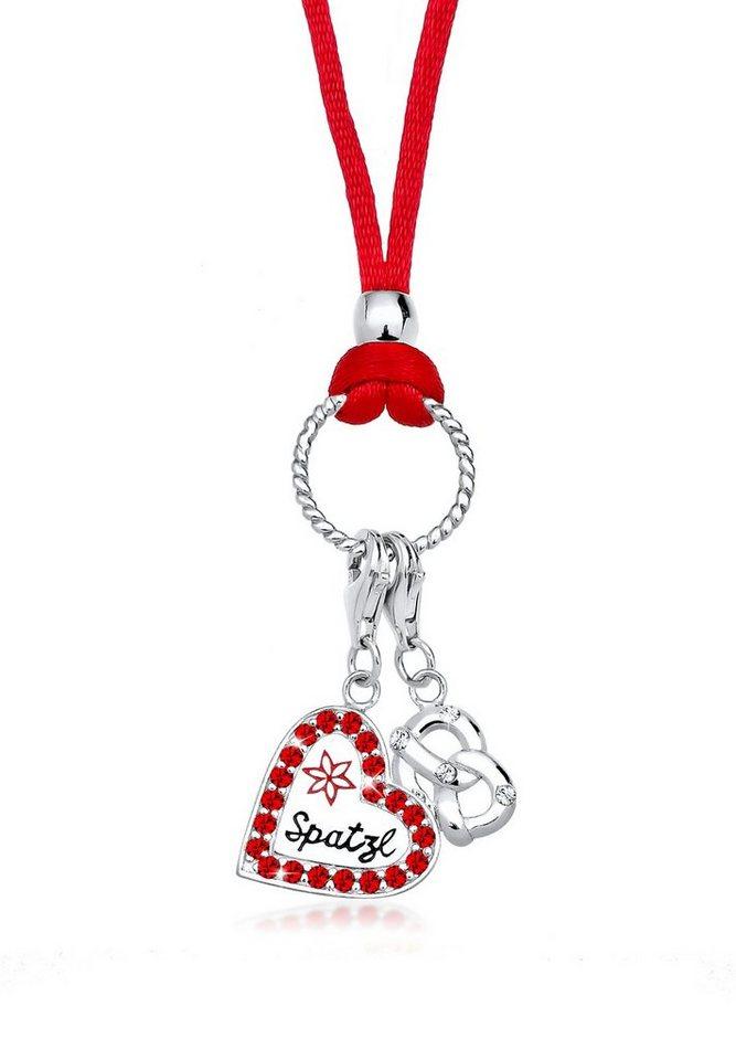 Elli Halskette »Herz Spatzl Brezel Swarovski® Kristalle 925 Silber« in Rot