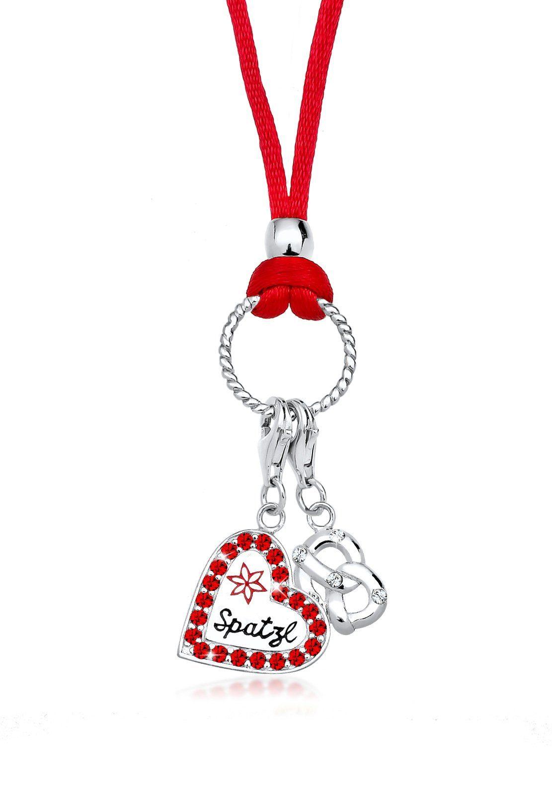 Elli Halskette »Herz Spatzl Brezel Swarovski® Kristalle 925 Silber«