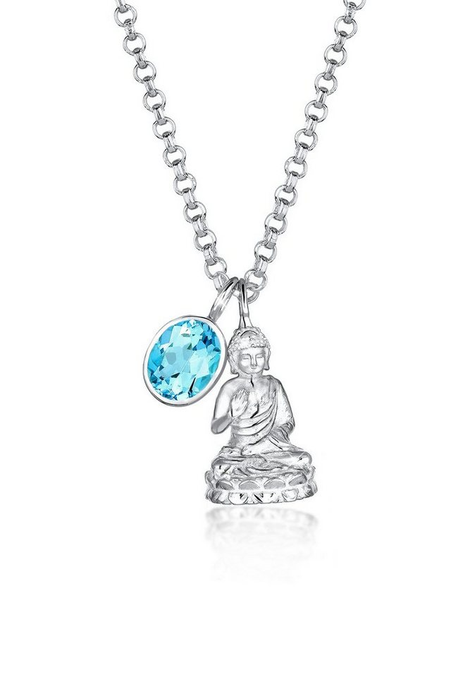 Elli Halskette »925 Sterling Silber Buddha Topas« in Hellblau