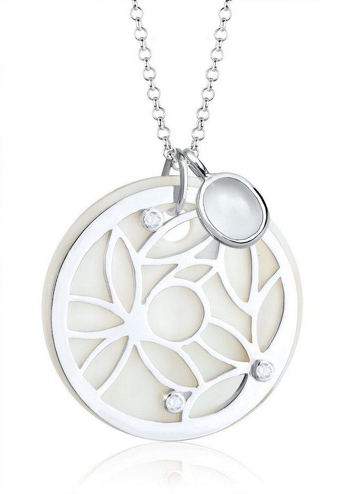 Elli Halskette »Ornament Perlmutt Edelsteine 925 Silber« in Weiß
