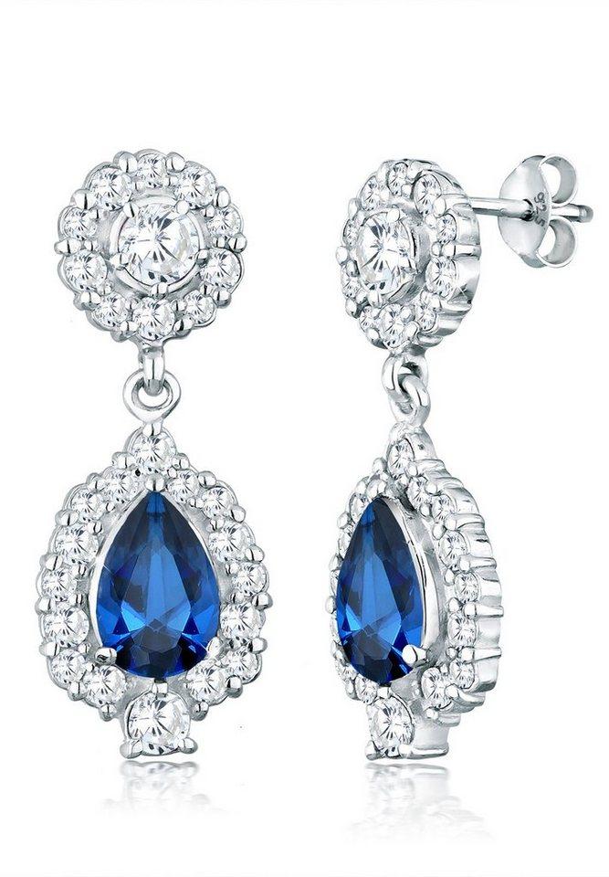 Elli Ohrringe »Tropfen Zirkonia Glamour Elegant 925 Silber« in Blau