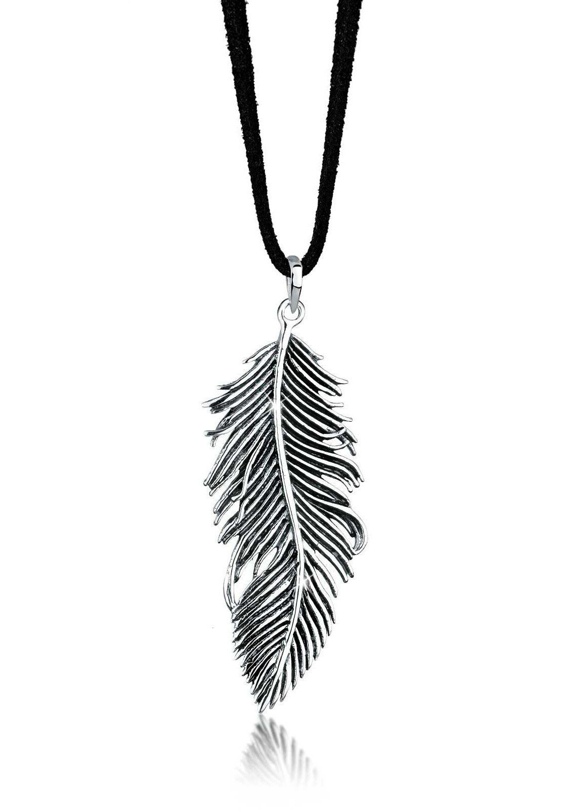 Elli Halskette »Feder 925 Sterling Silber Textilband«