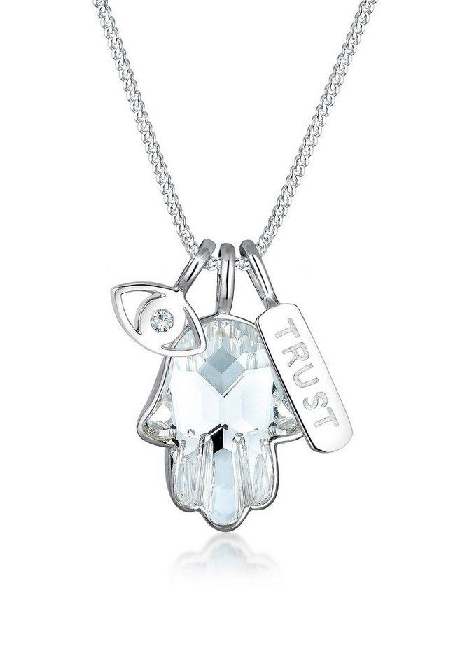 Elli Halskette »Hamsa Evil Eye Swarovski® Kristalle 925 Silber« in Silber
