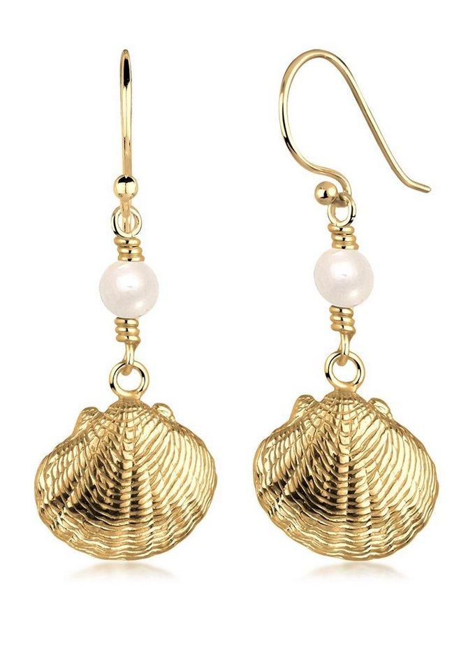 Goldhimmel Ohrringe »Muschel Maritim Perle Strand 925 Silber vergoldet« in Weiß